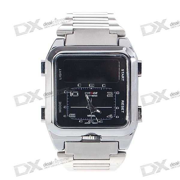 Square Digital + Analog Dual-Time Mens Stainless Steel Wristwatch (Silver)