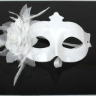 Smooth Tip with Flash Powder Feather Mask - White