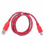 USB to Micro USB Data/Charging Woven Nylon Cable for Samsung Galaxy S3 / S4 - Red + Blue