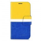 BOXIER LX-I9500 Protective PU Case w/ Card Slots for Samsung S4 / i9500 - Yellow + White + Blue