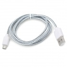 USB to Micro USB Data/Charging Woven Nylon Cable for Samsung Galaxy S3 / S4 - White + Black