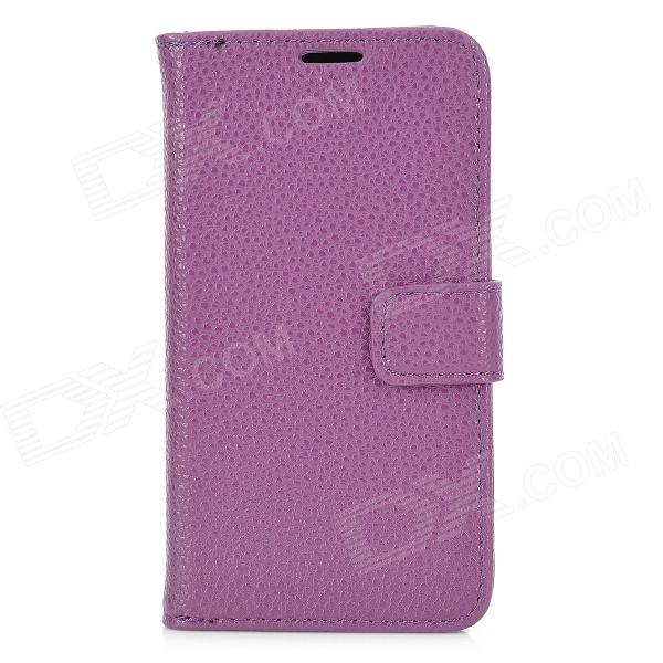 Lichee Pattern Protective Flip Open Case w/ Card Slots for Samsung S4 / i9295 - Purple statue of liberty pattern protective pu flip open case w strap card slots for samsung galaxy s5
