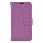 Lichee Pattern Protective Flip Open Case w/ Card Slots for Samsung S4 / i9295 - Purple
