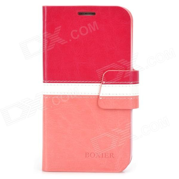 BOXIER LX-I9500 Protective PU Case w/ Card Slots for Samsung S4 / i9500 - Deep Pink + White + Pink