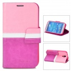 BOXIER LX-I9500 Protective PU Leather Case for Samsung Galaxy S4 i9500 - Pink + White + Purple