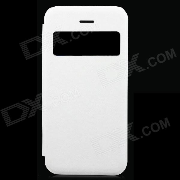Protective PU Leather + PC Case w/ Display Window for Iphone 5C - White stylish protective pu leather case for iphone 5c white transparent black