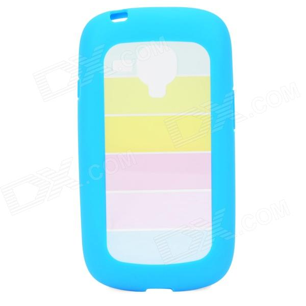 Rainbow Style Protective PC + TPU Back Case for Samsung Galaxy S3 Mini i1890 - Blue 300g hard wax beans pellet waxing bikini hair removal wax beeswax lavender banana rose tea strawberry chamomile