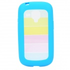 Rainbow Style Protective PC + TPU Back Case for Samsung Galaxy S3 Mini i1890 - Blue
