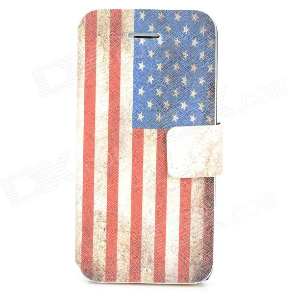 Retro US Flag Protective PU Leather Case w/ Stand / Card Slots for Iphone 5C - Red + White + Blue glossy leather wallet stand cover with 5 card slots for iphone 7 4 7 white