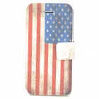 Retro US Flag Protective PU Leather Case w/ Stand / Card Slots for iPhone 5c - Red + White + Blue