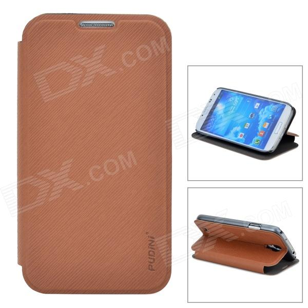 Protective PU Leather + PC Case for Samsung Galaxy S4 i9500 - Brown protective noctilucent plastic case for samsung galaxy s4 i9500 orange transparent