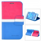 BOXIER LX-I9500 Protective PU Leather Case for Samsung Galaxy S4 i9500 - Red + White + Blue