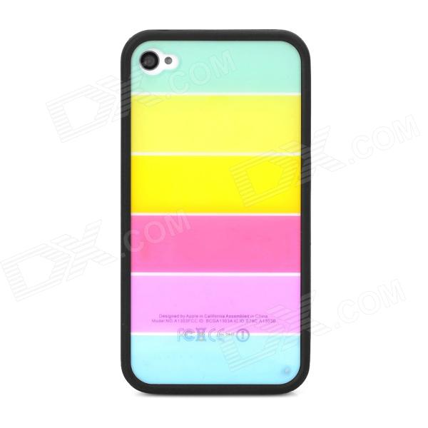Ultrathin Colorful Protective Plastic Back Case for Iphone 4 / 4S - Black + Multicolor ultra thin protective plastic back case for iphone 4 4s black