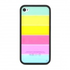 Ultrathin Colorful Protective Plastic Back Case for iPhone 4 / 4S - Black + Multicolor
