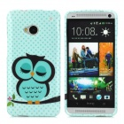 Owl Pattern Protective TPU Back Case for HTC ONE M7 - Green + Black
