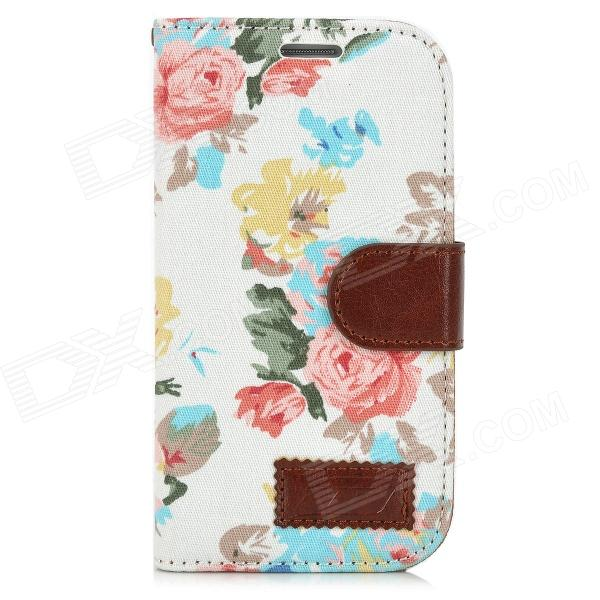 Flower Pattern Protective Flip Open Case w/ Card Slots for Samsung i9300 - White + Multicolor protective flip open pu case w stand card slots for samsung galaxy s4 active i9295 black