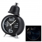 CPTCAM 1C Fashion Metal 1-LED Night Vision Alarm Clock w/ Single Bell - Black (1 x AA)