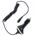 Car Cigarette Powered Charging Adapter Charger w/ Micro USB Coiled Cable for Samsung - Black