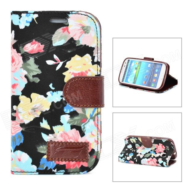 Flower Pattern Protective Flip Open Case w/ Card Slots for Samsung i9300 - Black + Multicolor protective flip open pu case w stand card slots for samsung galaxy s4 active i9295 black