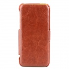 Protective PU Leather + PC Flip Open Case for Iphone 5C - Brown