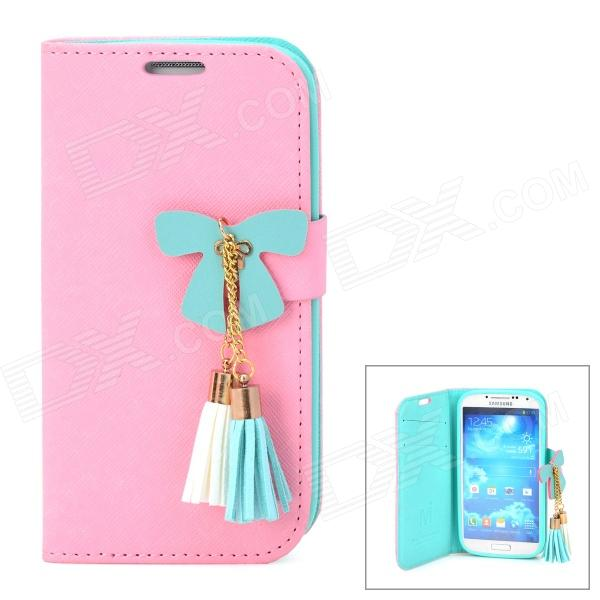 Butterfly Style Protective PU Leather Case for Samsung i9500 / S4 - Pink + Green + White butterfly bling diamond case