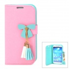 Butterfly Style Protective PU Leather Case for Samsung i9500 / S4 - Pink + Green + White