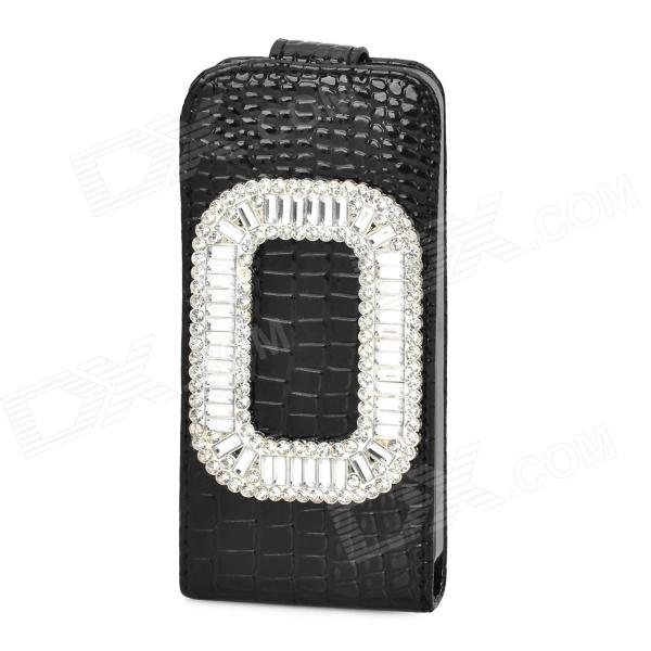 Elegant Protective Rhinestone + PU Leather Flip-Open Case for Iphone 5 / 5s - Black + Silver 3 in 1 fish eye macro wide angle clip lens white black