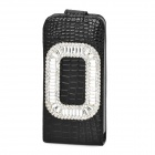 Elegant Protective Rhinestone + PU Leather Flip-Open Case for Iphone 5 / 5s - Black + Silver