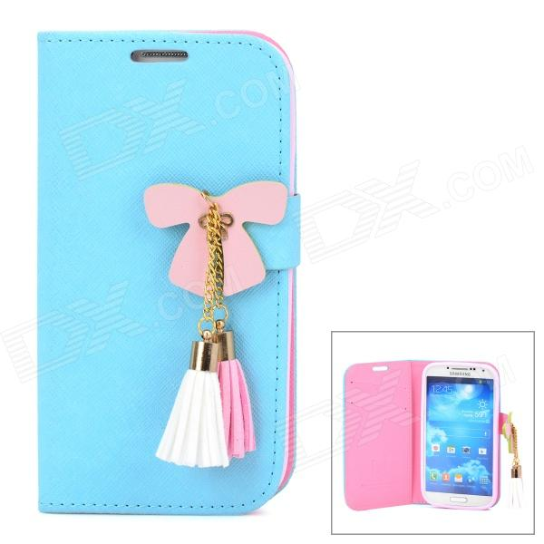Butterfly Style Protective PU Leather Case for Samsung i9500 / S4 - Blue + Pink butterfly bling diamond case
