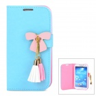 Butterfly Style Protective PU Leather Case for Samsung i9500 / S4 - Blue + Pink