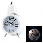 CPTCAM 1C Fashion Metal 1-LED Night Vision Alarm Clock w/ Single Bell - White + Black (1 x AA)