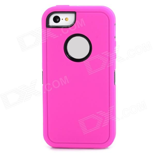 Robot Style Protective Plastic + TPU Back Case for Iphone 5C - Deep Pink + Black