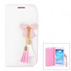 Butterfly Style Protective PU Leather Case for Samsung i9500 / S4 - White + Pink