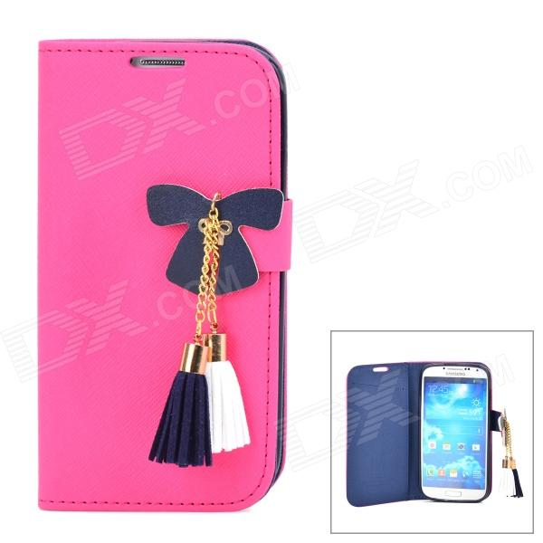 Butterfly Style Protective PU Leather Case for Samsung i9500 / S4 - Deep Pink + Deep Blue silk style protective pu leather plastic case for iphone 4 4s deep pink