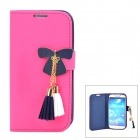 Butterfly Style Protective PU Leather Case for Samsung i9500 / S4 - Deep Pink + Deep Blue
