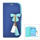 Butterfly Style Protective PU Leather Case for Samsung i9500 / S4 - Deep Blue + Green