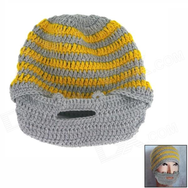 Wool Hat w/ Mask - Yellow + Grey autumn winter baby cotton beanies adults cap parent child hats boys girls warm knitted hat with scarf children new wool hat