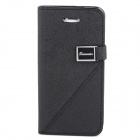 Protective PU Leather Flip Open Case w/ Stand / Card Slots for iPhone 5 - Black