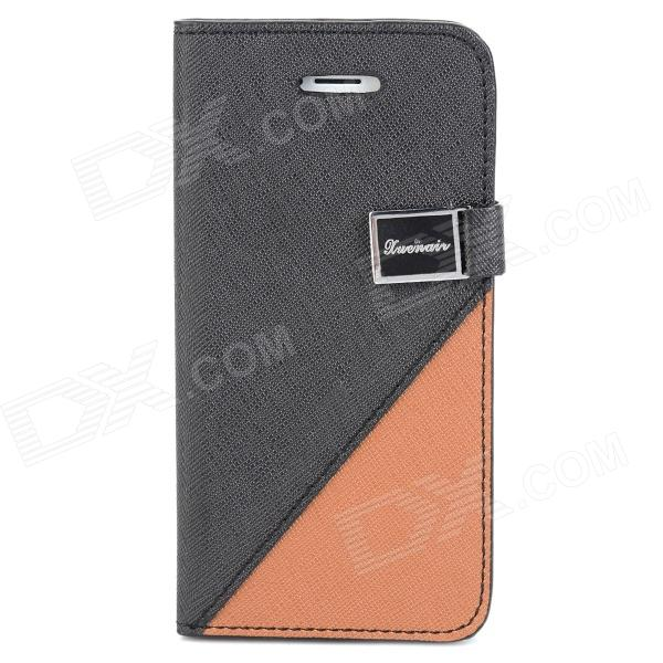 Protective PU Leather Case w/ Stand / Card Slots for Iphone 5 - Black + Brown glossy leather wallet stand cover with 5 card slots for iphone 7 4 7 white