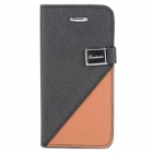 Protective PU Leather Case w/ Stand / Card Slots for iPhone 5 - Black + Brown