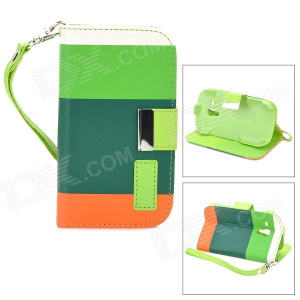 Fashionable Assorted Color Flip-open PU Leather Case w/ Holder + Strap for Samsung Galaxy S3 Mini
