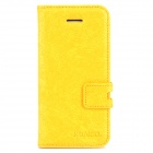 XUNDD Protective PU Leather + Silicone Case w/ Stand for Iphone 5C - Yellow