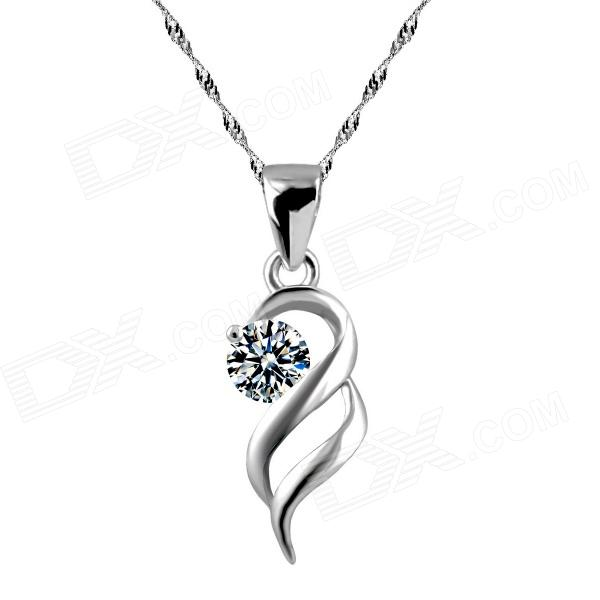 eQute PSIW264 Stylish 925 Sterling Silver Necklace w/ Angel Wing Pendant for Women - Silver (18) equte psiw264 stylish 925 sterling silver necklace w angel wing pendant for women silver 18