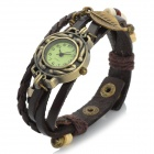 PU Band Analog Quartz Bracelet Wrist Watch for Women - Coffee