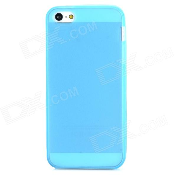 Glow-in-the-Dark Protective Frosted TPU Back Case for Iphone 5 / 5s - Blue s what protective tpu back case w anti dust plug for iphone 5 5s transparent purple