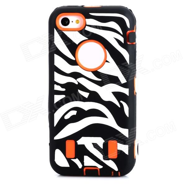 купить Zebra-stripe Pattern Protective PC + Silicone Back Case for Iphone 5C - Black + Deep Orange + White недорого