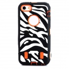 Zebra-stripe Pattern Protective PC + Silicone Back Case for Iphone 5C - Black + Deep Orange + White