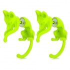 Cat Style Aluminum Alloy Earrings - Fluorescent Green