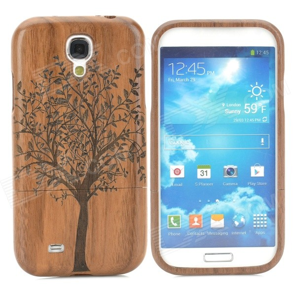 Retro Tree Pattern Protective Wooden Back Case for Samsung S4 i9500 - Black + Brown