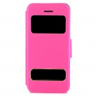 Protective PU Leather Case w/ Dual Windows / Stand for iPhone 5c - Deep Pink + Black
